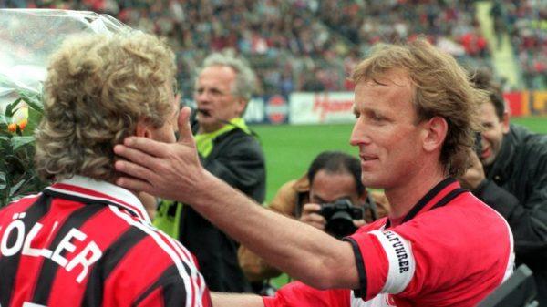 Andreas Brehme del Kaiserslautern e Rudi Voeller